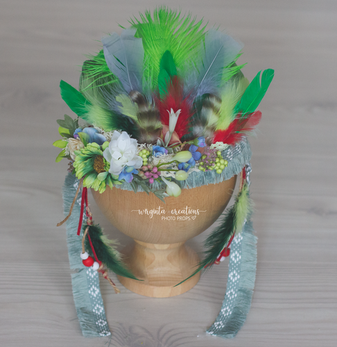 Sitter Feather Headdress, Indian style, tieback, Bohemian crown.  Ready to send