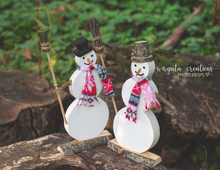 Load image into Gallery viewer, Wooden Snowman, Christmas Decoration, Mantle Decor, Photography prop, Winter, Rustic Snowman. Ready to send