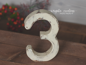 Number 3 Photography Prop. Free-standing. Baby 3rd Birthday Decoration. Wooden distressed number. Cake Smash. Ready to send