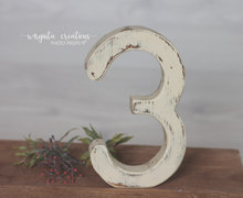 Load image into Gallery viewer, Number 3 Photography Prop. Free-standing. Baby 3rd Birthday Decoration. Wooden distressed number. Cake Smash. Ready to send