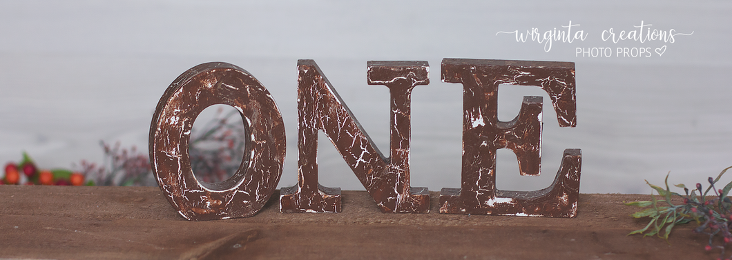 Sign One Photography Props. Baby 1st Birthday Decoration. Wooden distressed letters. Brown. Cake Smash. Free-standing. Ready to send. Sale