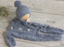 Load image into Gallery viewer, Fuzzy footed romper and hat, sitter, 9-18 months old, grey. Ready to send