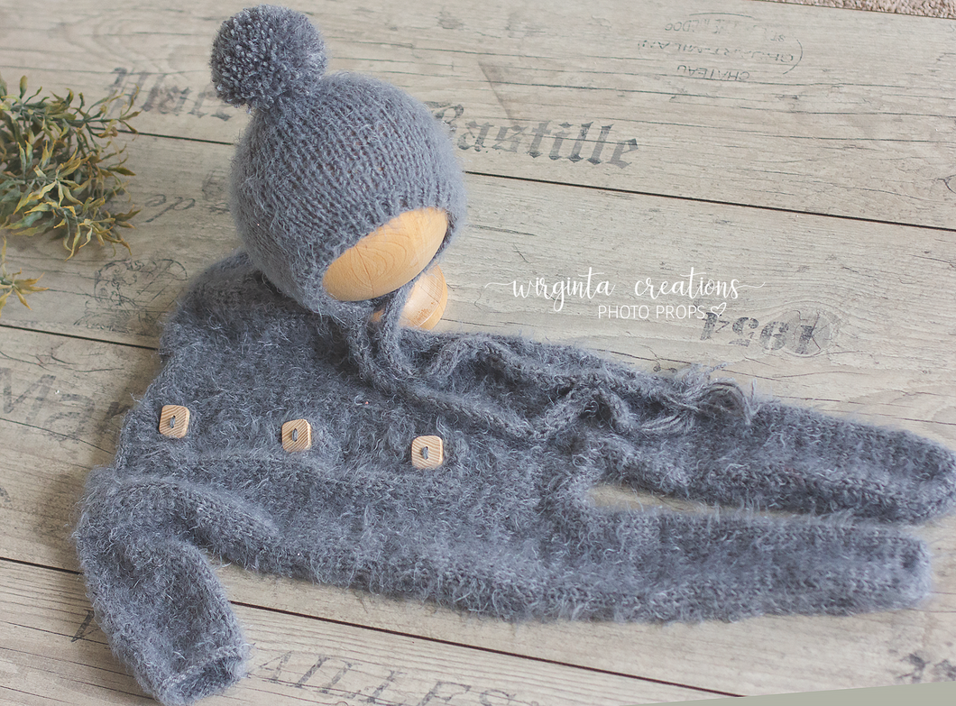 Fuzzy footed romper and hat, sitter, 9-18 months old, grey. Ready to send