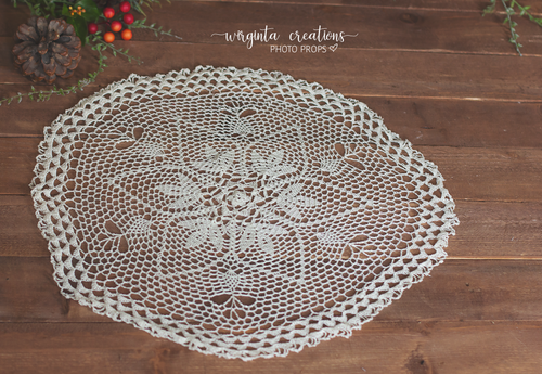 Vintage round Crocheted Layer, 55cm wide, Basket Layering Piece, Large doily, Newborn, Sitter. Ready to send