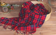 Load image into Gallery viewer, Tartan Newborn Layer. Plaid Tartan Layer. Fringe. Wrap Photo Prop. Sitter. Ready to send