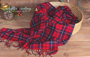 Tartan Newborn Layer. Plaid Tartan Layer. Fringe. Wrap Photo Prop. Sitter. Ready to send