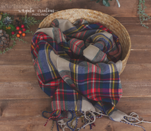 Load image into Gallery viewer, Tartan Newborn Layer. Plaid Tartan Layer. Fringe. Wrap Photo Prop. Sitter. Ready to send. Sale