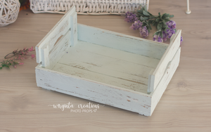 Wooden bed, newborn posing bed, cream, mint, wooden props. Ready to send