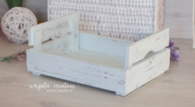 Load image into Gallery viewer, Wooden bed, newborn posing bed, cream, mint, wooden props. Ready to send