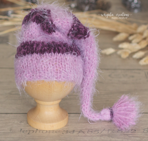 Newborn set. Bundle. Knitted layer, Hat. Eggplant, pink. Ready to send photo props. Sale