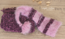 Load image into Gallery viewer, Newborn set. Bundle. Knitted layer, Hat. Eggplant, pink. Ready to send photo props. Sale