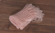 Load image into Gallery viewer, Knitted Newborn set, bundle, Blush pink, posing pillow, tieback, layer, bonnet, Ready to send