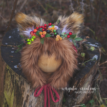Load image into Gallery viewer, Tattered/Ruffle style baby fox bonnet for sitter. Burnt orange. Woodlands. Ready to send photo props