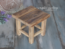 Load image into Gallery viewer, Wooden stool, bench Photography Prop, Sitter, Toddler, Posing prop, Sturdy, Vintage, Handcrafted, Ready to send