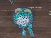 Load image into Gallery viewer, Tattered style teddy bear bonnet for 6-12 months old. Checked fabric. Ready to send photo props