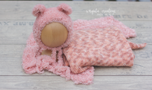 Load image into Gallery viewer, Knitted Newborn set, bundle, Blush pink, wrap, layer, bear bonnet, Ready to send