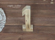 Load image into Gallery viewer, Wooden Number 1 One, Free-standing, Photography Prop, Handcrafted, First birthday wooden decoration, Natural wood, Ready to send