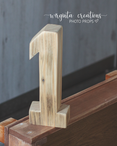 Wooden Number 1 One, Free-standing, Photography Prop, Handcrafted, First birthday wooden decoration, Natural wood, Ready to send