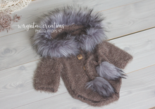"Load image into Gallery viewer, Hooded ""Eskimo"" romper, 6-12 months old, sitter, Khaki-brown. Ready to send"