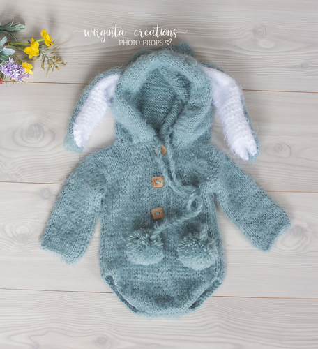 Hooded bunny romper, sitter, 6-12 months old. Long ears, Teal, mint. Easter. Ready to send