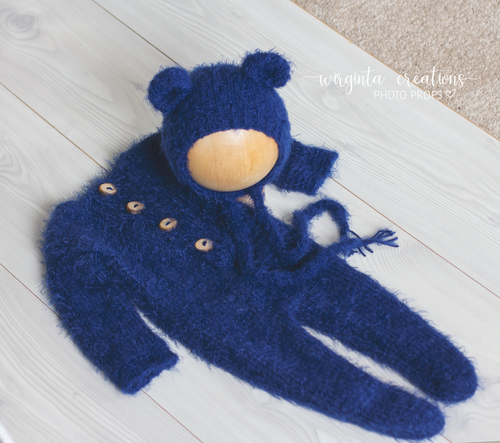 Fuzzy footed romper and bear hat set, sitter, 9-18 months old, navy, dark blue. Ready to send