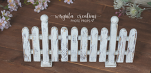 Load image into Gallery viewer, Solid Wood Decor, Handcrafted Picket Fence. Wooden distressed white design. Stage Props. Cake Smash. Free standing. Ready to send