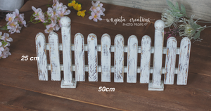 Solid Wood Decor, Handcrafted Picket Fence. Wooden distressed white design. Stage Props. Cake Smash. Free standing. Ready to send