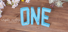 Load image into Gallery viewer, Sign One Photography Props. Baby 1st Birthday Decoration. Blue colour. Wooden distressed letters. Cake Smash. Ready to send