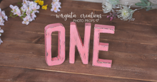 Load image into Gallery viewer, Sign One Photography Props. Baby 1st Birthday Decoration. Pink colour. Wooden distressed letters. Cake Smash. Ready to send