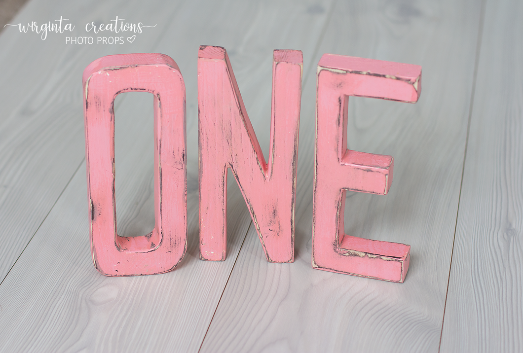 Sign One Photography Props. Baby 1st Birthday Decoration. Pink colour. Wooden distressed letters. Cake Smash. Ready to send