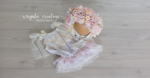 Load image into Gallery viewer, Flower bonnet and matching dress set for 6-12 months old. Pastel. Sitter. Ready to send photo prop
