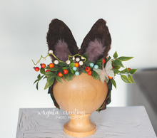 Load image into Gallery viewer, Bunny ears headdress for sitter, Older children, Easter, Toddler, Flower halo, Woodland, Headband, Ready to send