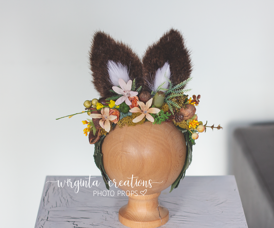 Bunny ears headdress for sitter, Older children, Easter, Toddler, Flower halo, Woodland, Headband, Ready to send
