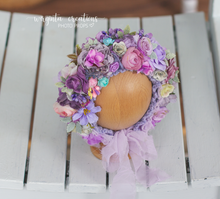 Load image into Gallery viewer, Flower bonnet for newborn baby, 0-3 months old, Pink, lilac, purple baby pink, Ready to send