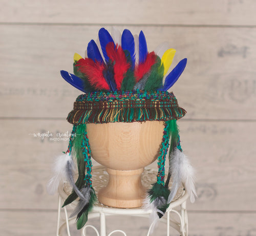 Sitter Feather Headdress, Indian style, tieback,  Bohemian crown Ready to send