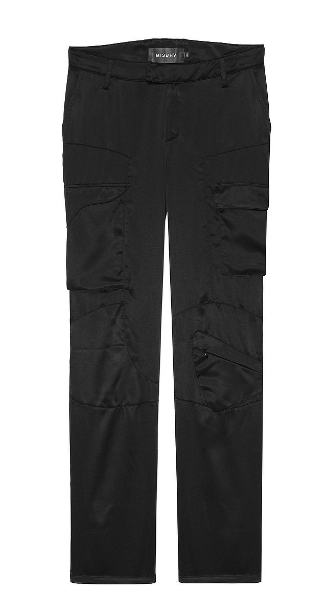 Satin Cargo Trousers Black