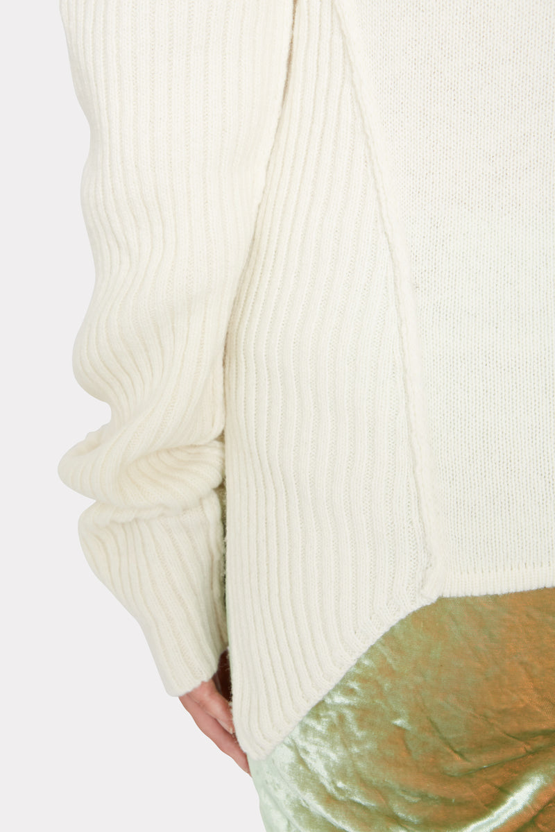 Ivory Rib-Knit Turtleneck