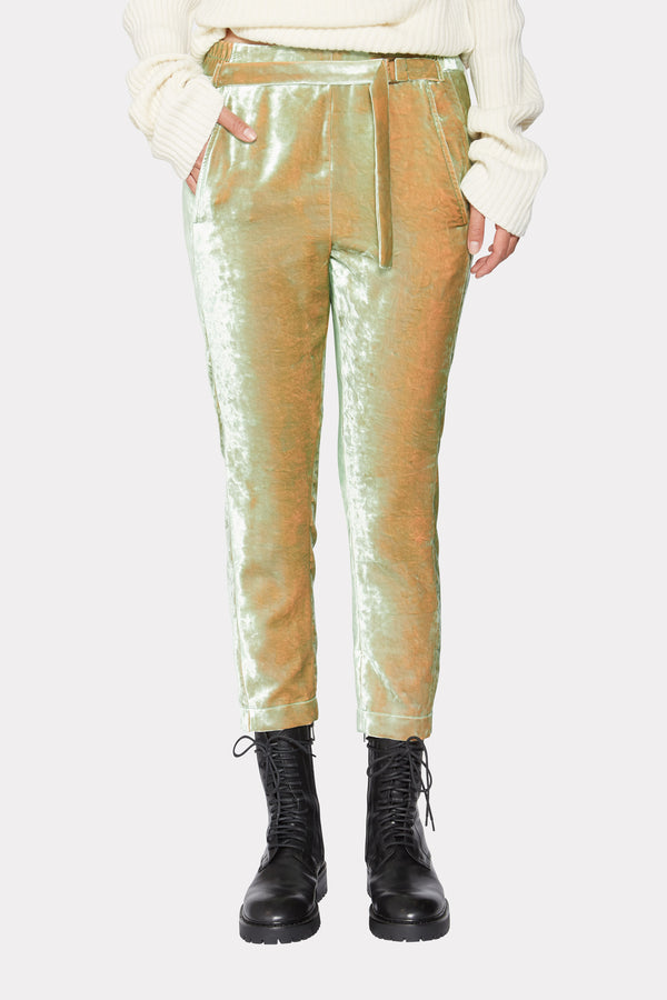 CROPPED VELVET TROUSERS WITH BELT