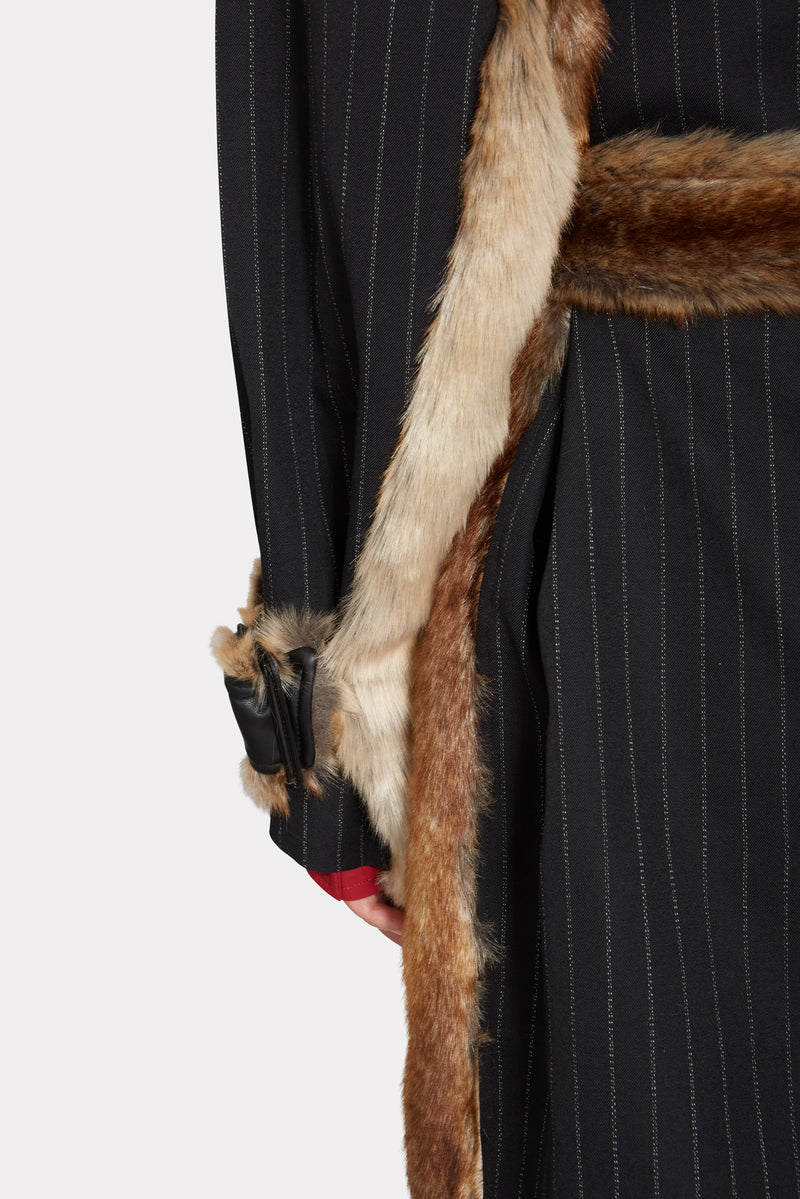 BLACK STRIPE WOOL COAT WITH FUR DETAIL