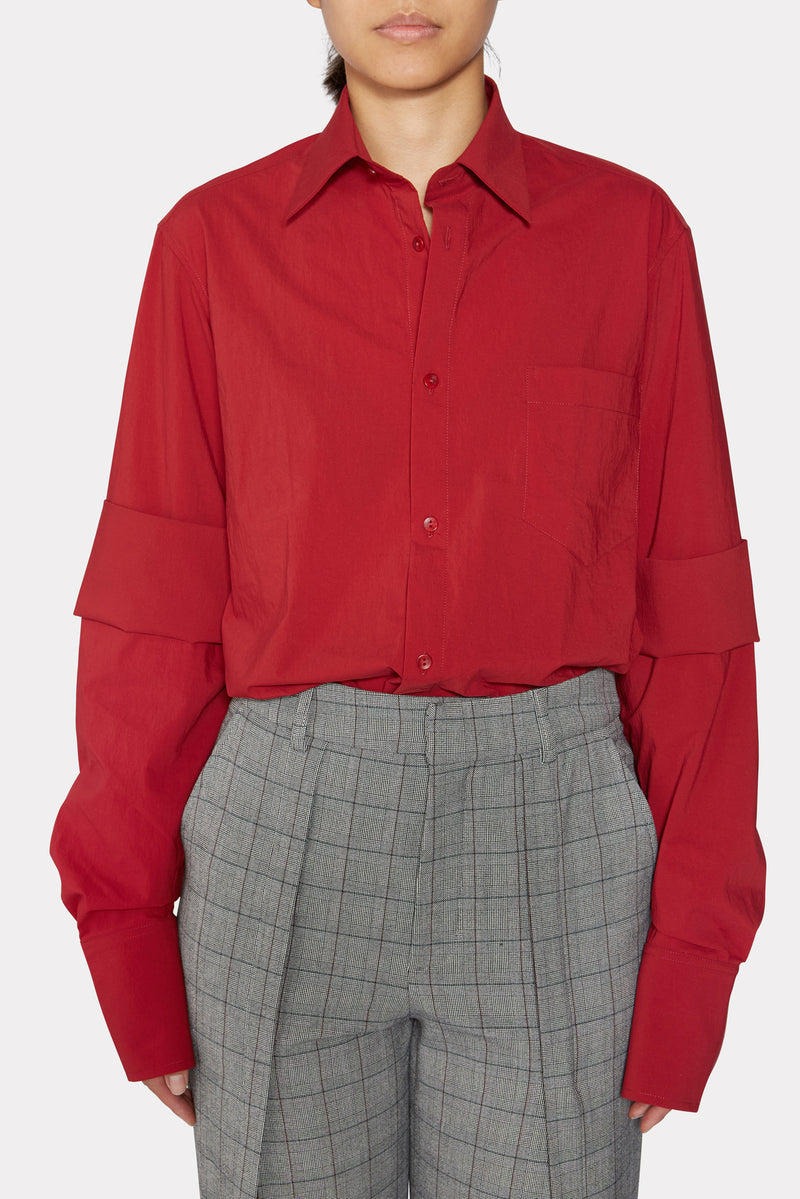 RED SHIRT WITH DOUBLE SLEEVES