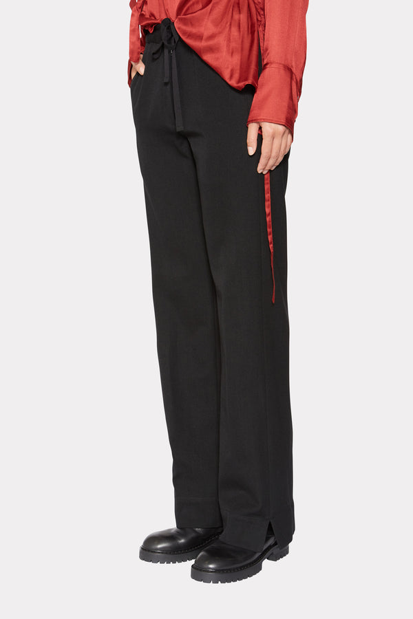 STRAIGHT LEG TROUSERS WITH DRAWSTRINGS