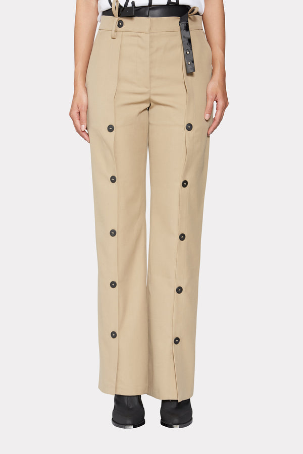 BEIGE WIDE LEG TROUSERS WITH BUTTONS AND BELT