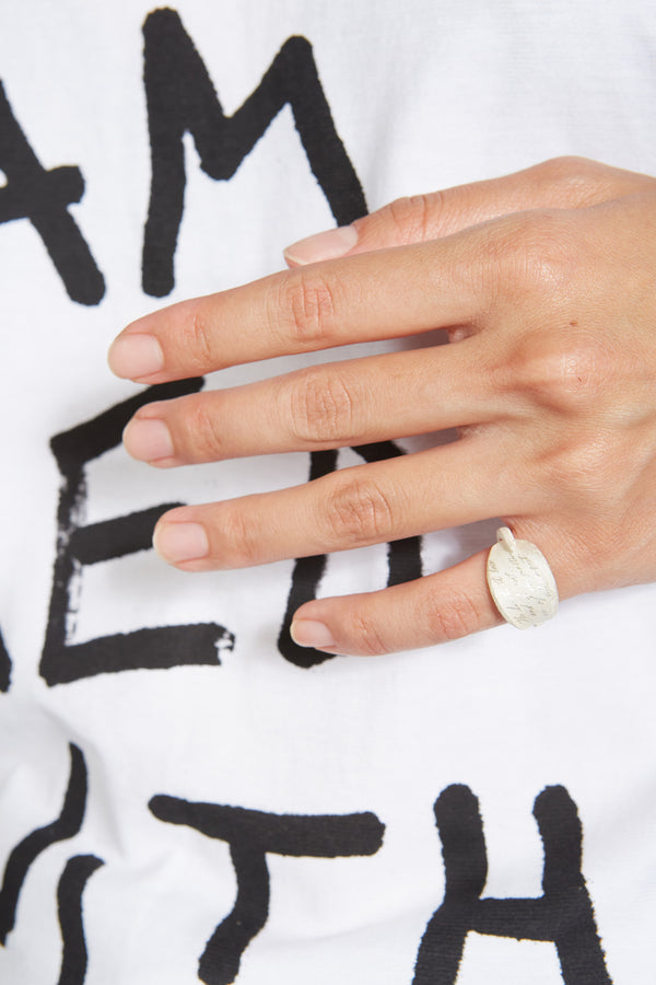 WHITE MESSAGE RING