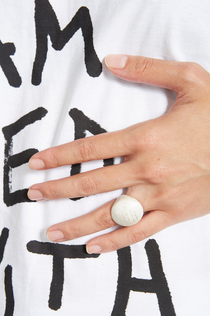 WHITE LUNA MESSAGE CIRCLE RING