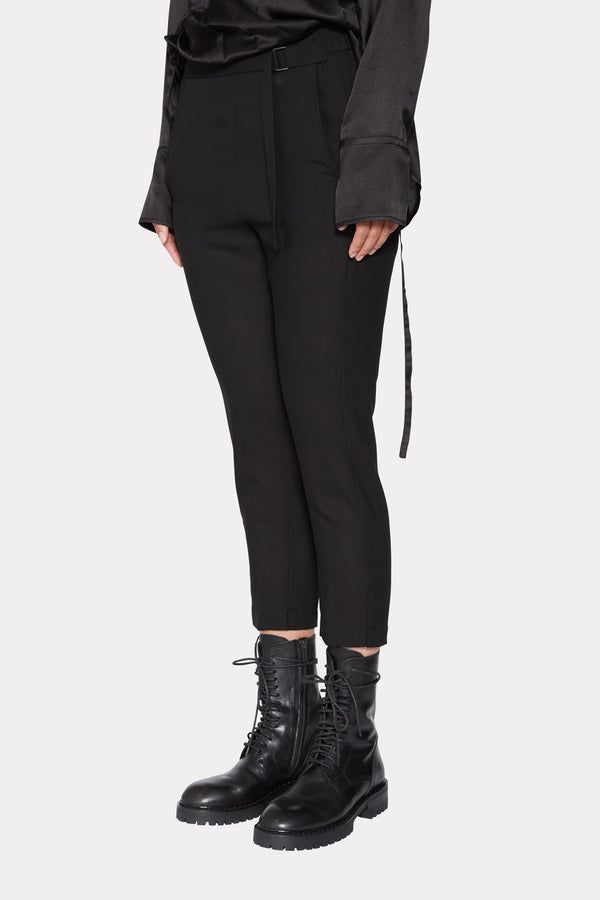 CROPPED WOOL TROUSERS WITH BELT