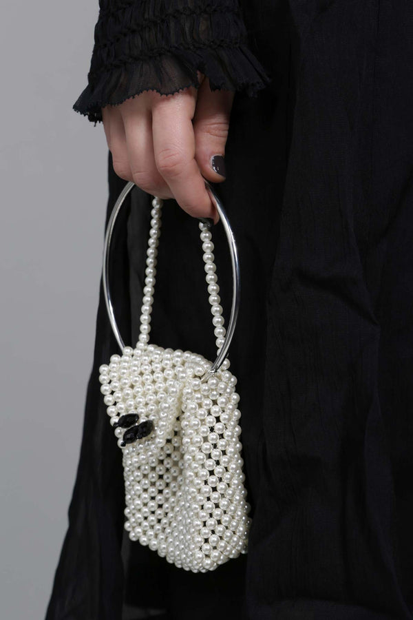 Small Pearl Bag with Metal Handle