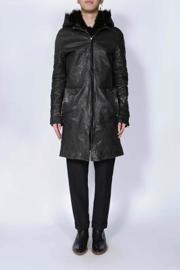 Horse Leather Shearling Parka