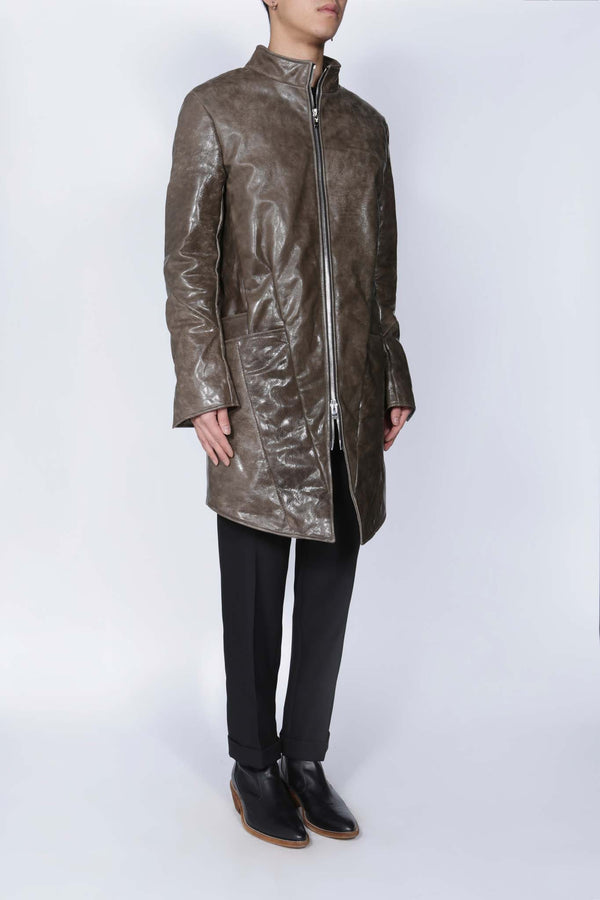 Horse Leather Zip Front Coat