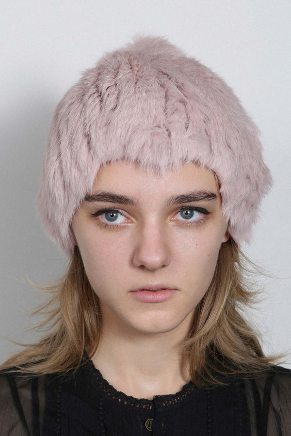 CANDY PINK KNITTED RABBIT STRETCH BEANIE HAT