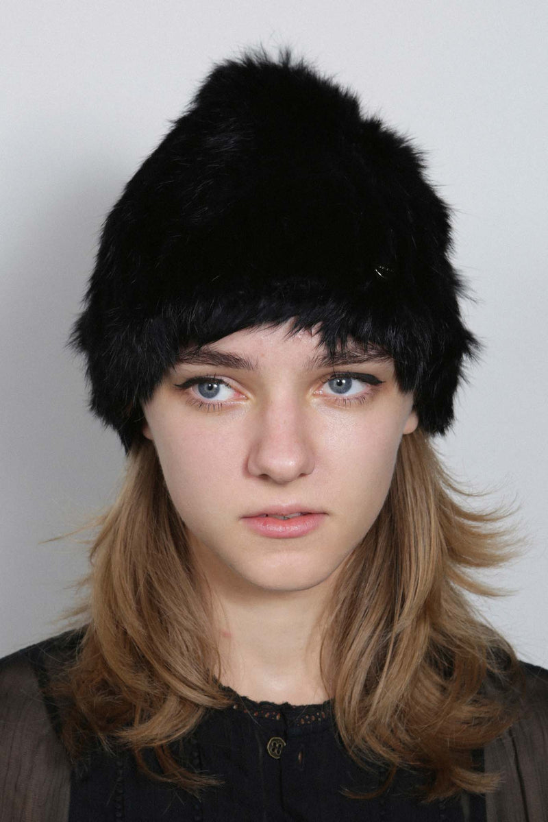 BLACK KNITTED RABBIT STRETCH BEANIE HAT